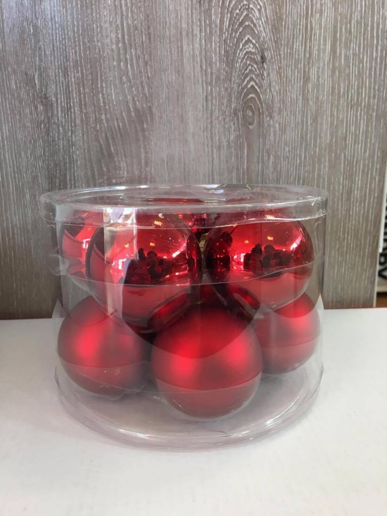 Set 10 globuri roșii din sticlă