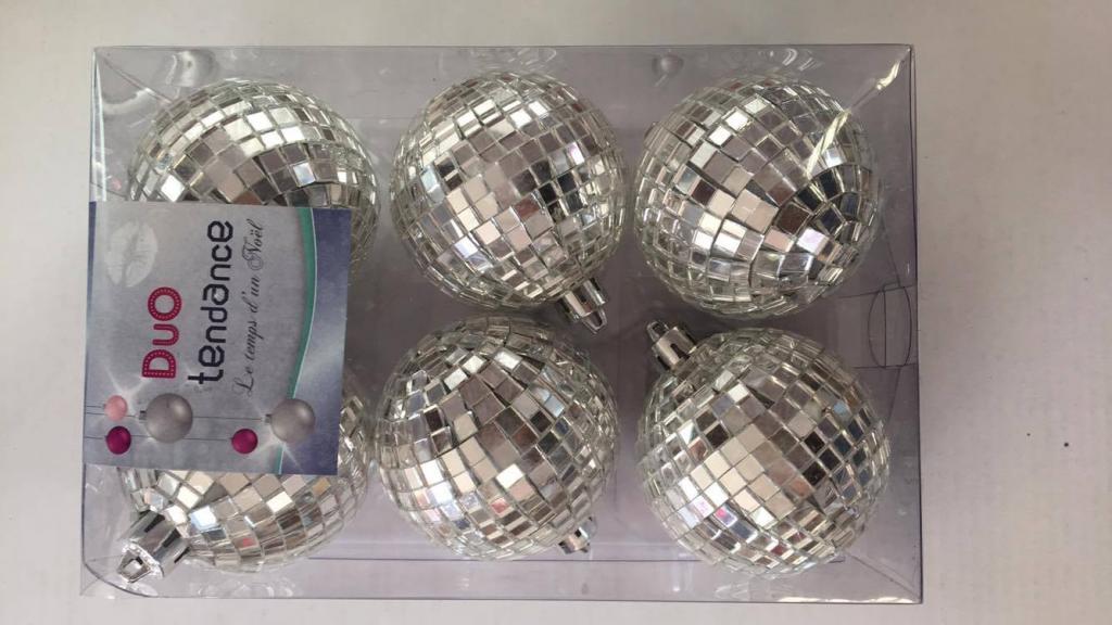 Set 6 globuri tip mozaic disco-argintii