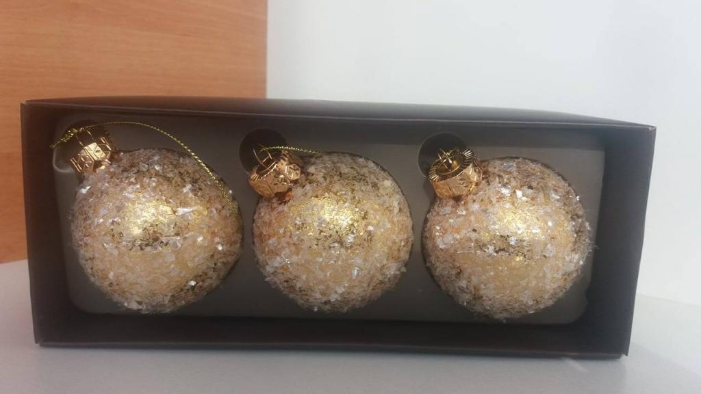 Set 3 globuri sticlă arămii