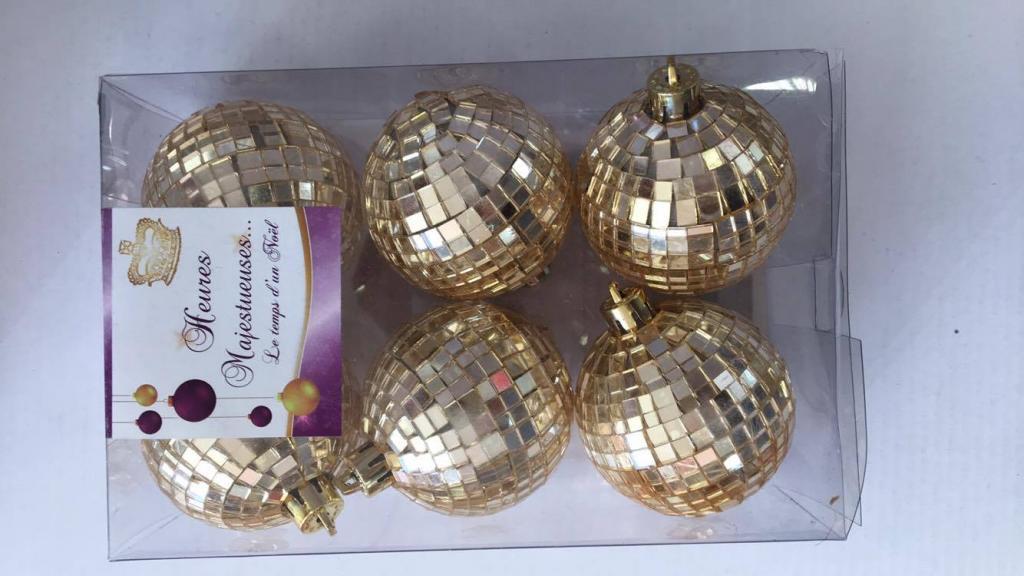 Set 6 globuri tip mozaic disco-aurii