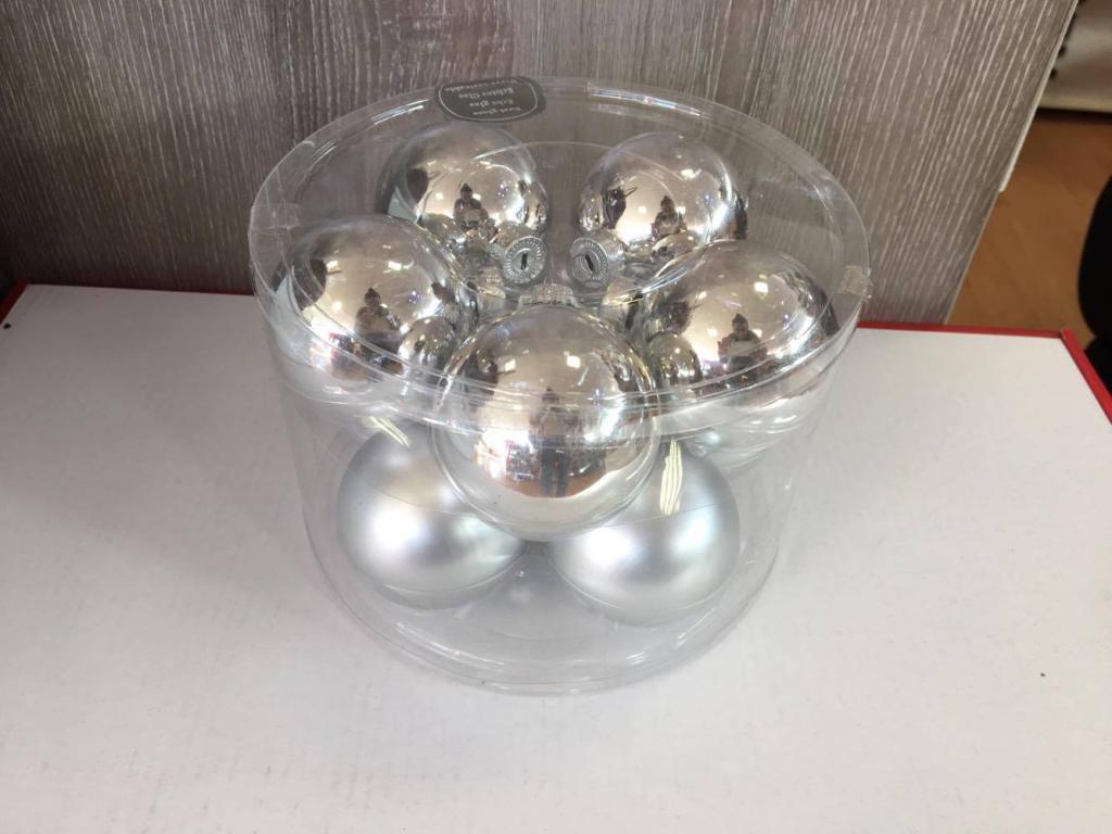 Set 10 globuri argintii din sticlă