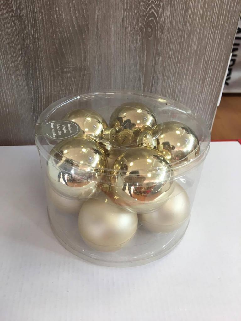 Set 10 globuri aurii din sticlă